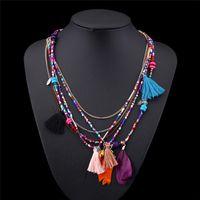 Böhmen Ethnic Style Multilayer Feder Perlen Halskette Anhänger Seil Kette Aussage Halskette Für Frauen Modeschmuck JQ523