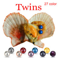 2018 wholesale 27 colors round akoya Twins pearls oysters, Natural 6-7mm/individually wrapped, great party gift red shell mussel