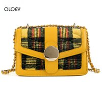 OLOEY New women' s small square bag Plaid wool women mes...