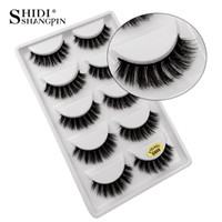 SHIDISHANGPIN 5 pairs eyelashes hand made 3d mink lashes natural long soft mink eyelashes full strip lashes  false eyelash