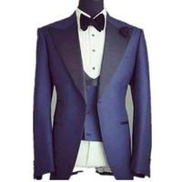 Blau Männer Anzug 3 Stücke Hochzeit Bräutigam Smoking Groomsmen Wear Hochzeit Anzüge neuesten Designs formelle tragen (Jacke + Pants + Weste + Tie)