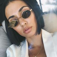 Kadınlar Için küçük Oval Güneş Gözlüğü Unisex Metal Çerçeve 2018 Moda Marka Tasarımcısı Renkli Lensler Güneş Gözlükleri UV400