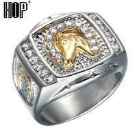 Hip hop micro pave rhinestone gelado out bling anel do cavalo ip gold filled titanium aço inoxidável anéis para homens jóias