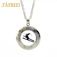 TAFREE Exciting sports I love skiing silver plate locket nec...