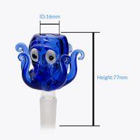 흡연 액세서리 14mm 18mm 유리 그릇 낙지 스타일 두꺼운 pyrex 물 봉 조각에 대 한 다채로운 파란색 마른 허브와 함께