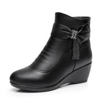 2018 Nuovo inverno elegante strass stivali di pelle di mucca nera per le donne di grandi dimensioni Comfort caldo stivaletti di lana antiscivolo scarpe zeppa donna