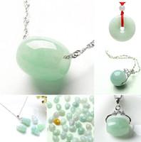 Collier en argent plaqué 925 clavicule femelle sauvage simple route passer jade pendentif en jade gourde paix boucle amour pendentif pêche