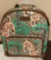 Мода натуральная кожаный холст Bland Tiger Green Дерево напечатанный узор на плечо мешок мужская женщина рюкзак с молнией Сохо Классическая сумка