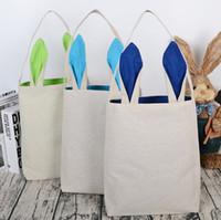 Bolsa de conejito de Pascua, Bolsa de tela de algodón Bolso de regalo Orejas de conejito Diseño Bolso de mano de Pascua Bolso en blanco para los regalos del favor de partido Uso de DIY