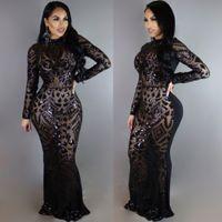 Seksi Kadınlar Uzun kollu bodycon sequins Rhinestone clubwear parti kokteyl akşam Uzun elbise S-XL M301