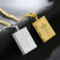 Fashion Bible Cross Locket Necklace Gold Color Crucifix Jewelry Memory Photo Box Locket Necklaces Pendants For Women Men Gift