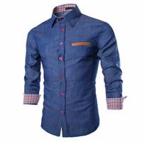 Tático negócio denim camisa homens casual jeans vestido camisa camisa social masculina magro blusa outono manga longa blusas