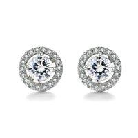 À la mode Nouveau 2019 stud en gros Rond Imitation Cristal Or Blanc Plaqué CZ Diamant Boucles D'oreilles Pour Les Femmes De Mariage Bijoux