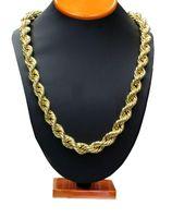 Moda 8mm 10mm Hip Hop Halat Zincir Kolye 18 K Altın Kaplama Zincir Kolye Erkekler için 24 inç