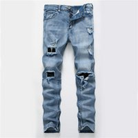 Jeans strappati degli uomini Biker Distressed Denim Pants Hip Hop Jogging Swag Side Zipper Skinny Jeans Homme Commercio All'ingrosso Libero