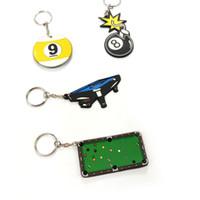 Paket içinde 5 adet Yumuşak Kauçuk Bilardo Snooker tablo tasarım Anahtarlık 4 tasarımlar için Bilardo Topu tasarım anahtarlıklar bilardo aksesuarları