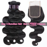 Ishow купить 3 шт. Wefts Получить одно бесплатное закрытие детали норки бразильский корпус волна перуанские человеческие волосы пакеты наращивания наращивание плетение для женщин все возрасты натуральные черные 8-28 дюймов
