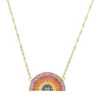 Nueva llegada de plata pura 925 collares de plata medio redondo arco iris micro pave cz moda llena bohemia estilo mujeres niñas collar