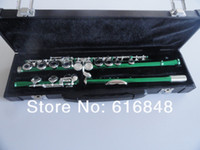 Güzel Yeşil Flüt 16 Delik Kapalı Nikel Gümüş Tuşları Artı E Anahtar Obturator Flüt Enstrüman Kutusu Ile öğrenciler Için Ücretsiz Kargo