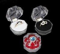 Schmuck Verpackung Boxen Ring Halter Ohrring Display Box Acryl Transparent Hochzeit Verpackung Aufbewahrungsbox Fällen frei Schiff