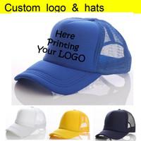 Фабрика Оптовая лето дальнобойщик шляпы взрослых пользовательские бейсболка печать Ваш логотип винил теплопередачи письмо мужчины Snapback шапки