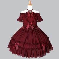Alta calidad 2018 rojo y negro Slash cuello arco gótico Lolita disfraces para mujeres personalizadas