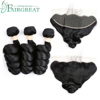 Peruvian Loose Wave 3 Bundles With 13*4 Lace Frontal Fairgre...