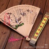 Nuevos ventiladores de mano de madera Señora portátil de la boda abanicos plegables hechos a mano al por mayor Ventiladores de mano baratos