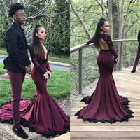 2018 sexy abendkleider long sleeve prom dresses mermaid shee...