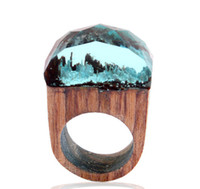 Solitaire Ring 3 Farben Secret Forest Scenery Harz Holz Ring Kristall Band Ring Hand Made Modeschmuck Kreatives Design