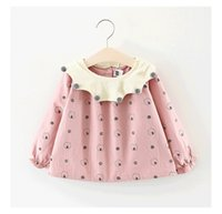 2018 estilos do INS quente New spring girl kids dot print dress kids pet pan colar manga longa vestido elegante
