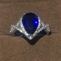 Poire Coupé Goutte D'eau Bleu Saphir Cz Bijoux Or Blanc Rempli De Solitaire Simulé Bague En Diamant Pour Femmes Exquis De Mariage Taille Du Cadeau 5-10