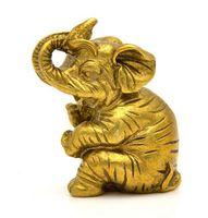 Estatua auspiciosa de la estatua del elefante animal de bronce de 6CM bronce de cobre amarillo de China