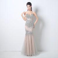 2018 cristales de tul cariño vestidos de noche Rhinestones nupcial del desfile de invitados vestido formal del partido vestidos cremallera espalda vestidos de baile de largo