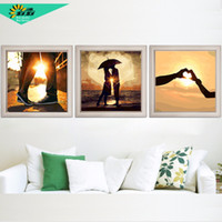 Vintage Home Decor Wall Art Flower Pictures Painting By Numbers  Three Picture Combination Oil Painting On Canvas Triptych H463