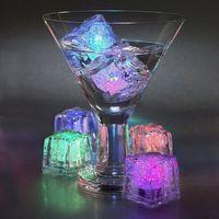 Светящийся кубик льда LED флуоресцентный блок красочные мигающие кубики льда Flash индукции лед свет КТВ бар свадьба Supplies7D