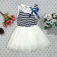 Kinder Cute Dress Baby Mädchen Streifen Bowknot Spitze Prinzessin Kleid Kind Blending Party Kleid Mädchen Kleidung