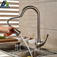 Brushed Nickel Kitchen Sink Mixer Taps Single Lever Pull Out...