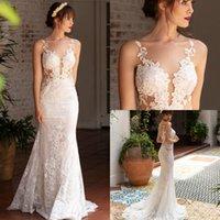 Naama Anat 2019 웨딩 드레스 레이스 쉬어 목 아플리케 인어 스타일 웨딩 드레스 Charming Backless Bridal Gowns