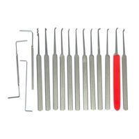 정오 12 피스 자물쇠 선택 세트 - 자물쇠 제조공을위한 화려한 자물쇠 세트 - 12 개의 유일한 단 하나 후비는 물건 + 빨간 고무 포탄 손잡이