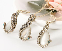 hot new European style peacock necklace set opal sweater necklace earrings jewelry set fashion classic elegant