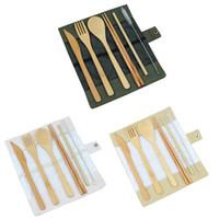 7 Unids / set Vajilla De Madera Set Bambú Cucharilla Tenedor Cuchillo de Sopa de Catering Set de Cubiertos con Bolsa de Tela Viaje al aire libre vajilla portátil