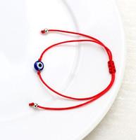 20 adet / grup Şanslı Dize Mavi Nazar Şanslı Kırmızı Kordon Ayarlanabilir Bilezik DIY yeni