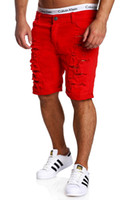 Homme Fashion Wash Broken Hole Short Pants Casual Five Pants...