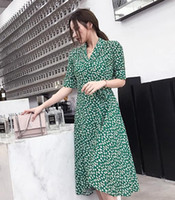 2018 New Fashion design women floral wrap dress printed medi...