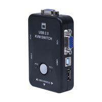 Бесплатная доставка все-в-одном мини 2 порта KVM ручной распределительной коробки адаптер w USB разъем