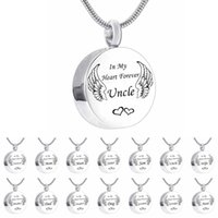 Unisex Angel Wing Round Memorial Keepsake For Ashes Urn Charm Pendant Necklace,In My Heart Forever Pendant