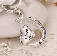 Подарок на день отца Заявление Польский Серебряный Ожерелье Шинни Я люблю тебя до Луны и обратно Кулон Ожерелье в подарок на день матери