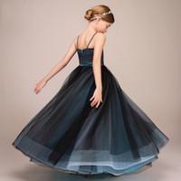 Lovely Black&Hunter Straps Tulle Girls' Pageant Dresses...