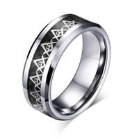 Classic Mens 8 mm anillo de carburo de tungsteno plata brújula masónica con incrustaciones de fibra de carbono negro tamaño de la banda de boda 7-13